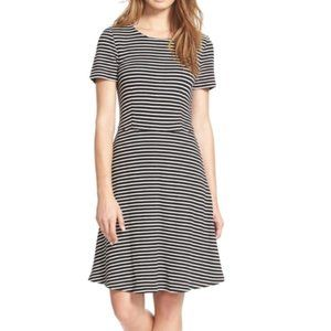 MADEWELL Black White Striped Fit Flare Sun Dress